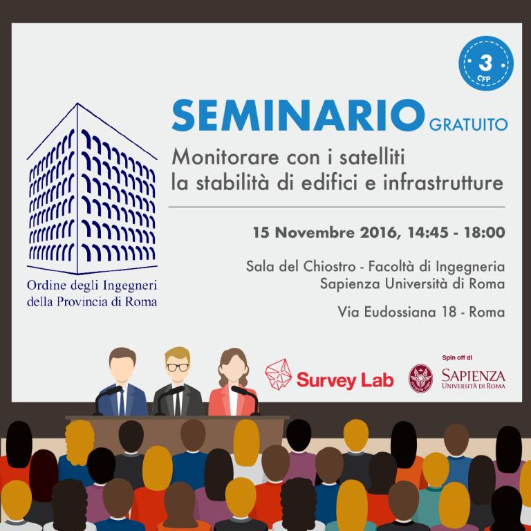 """Survey Lab presenta il seminario """"Monitorare con i satelliti la stabilità di edifici e infrastrutture"""" (3CFP)"""