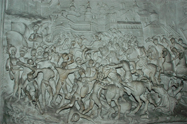 Three-dimensional high-resolution model of the bas reliefs of the battles of Brescia and Ravenna at the tomb of Gaston de Foix - Castello Sforzesco in Milan